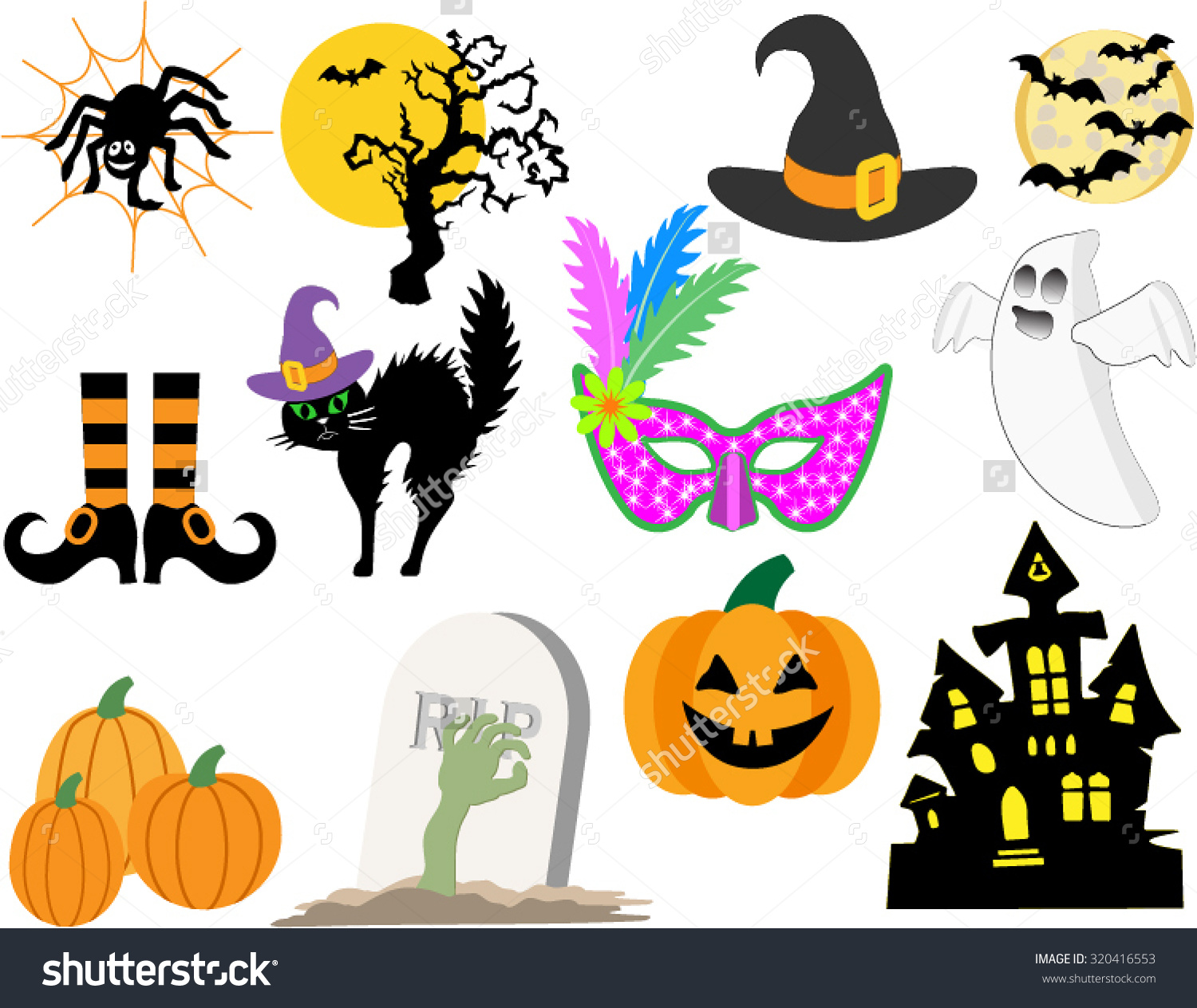 Classic Halloween Symbols Haunted House Bats Stock Vector.