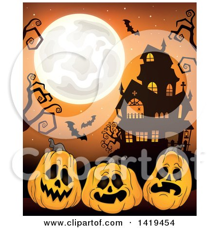 Clipart Of A Sketched Black And White Haunted House With A.