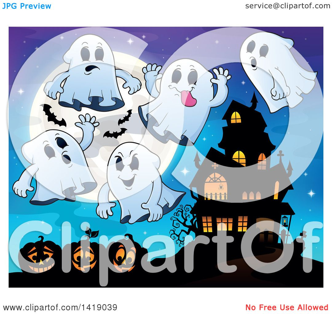 Clipart of a Full Moon with Bats, Ghosts and Jackolanterns near a.
