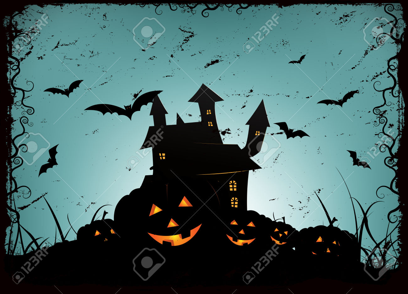 Illustration Of A Spooky Haunted House Or Castle Inside Blue.