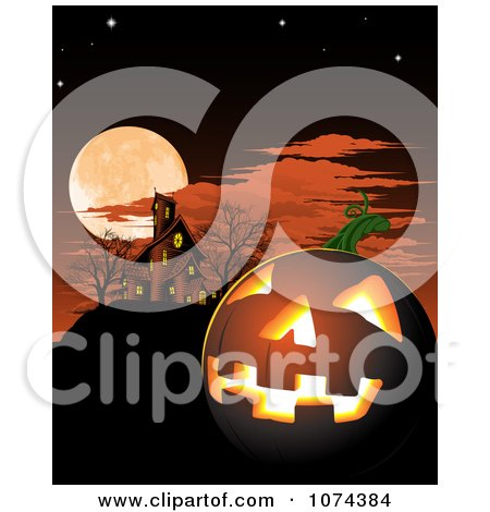 Clipart of a Haunted House and Cemetery Against a Full Moon.