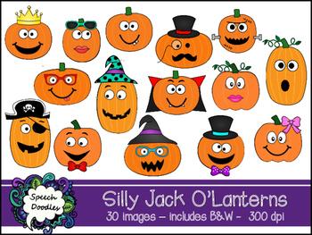 Silly Jack O Lanterns clipart.