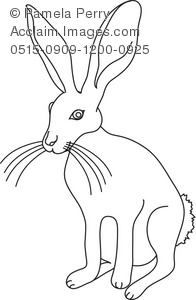 Black and White Clip Art Illustration of a Jack Rabbit.