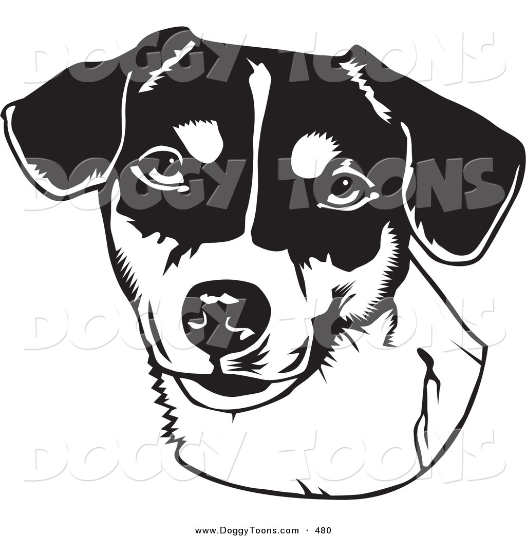 Doggy Clipart of a Black and White Drawing of the Face of a.