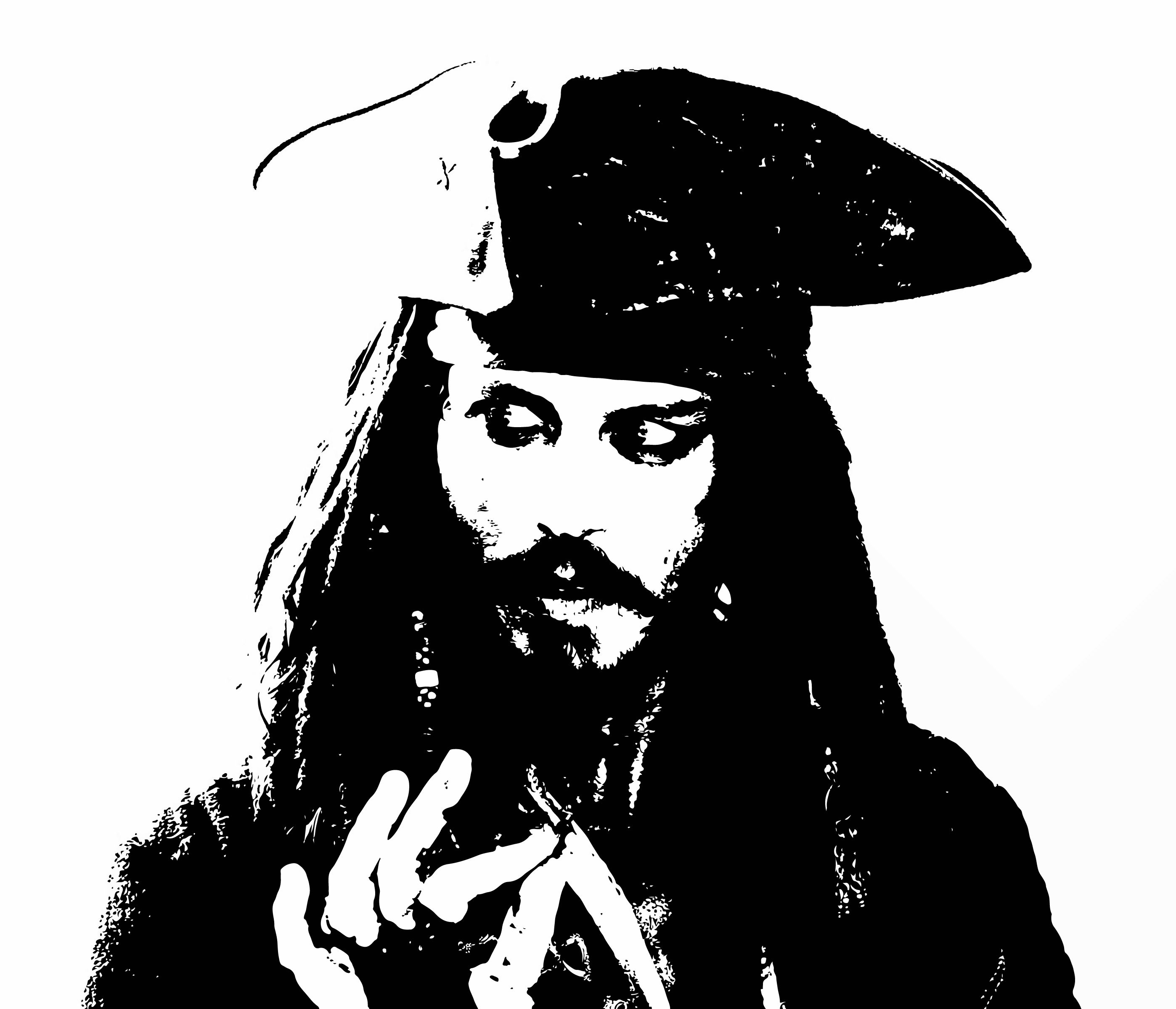 Jack Sparrow. (this would make a cool stencil.).