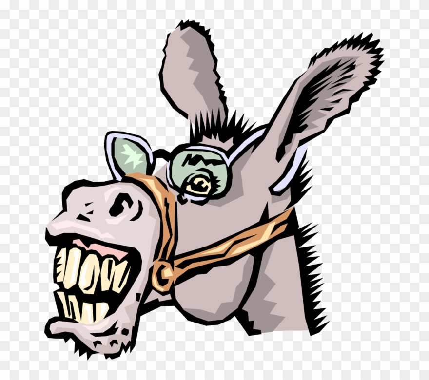 Vector Illustration Of Neighing Jackass Donkey With.