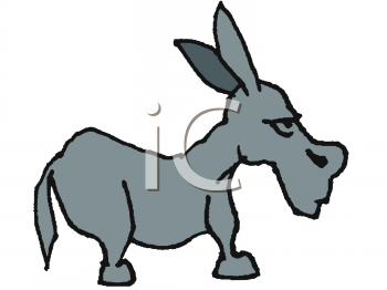 Clipart of a Mean Looking Donkey or Jackass.