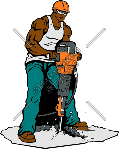 Construction Worker with Jackhammer Clipart and Vectorart.