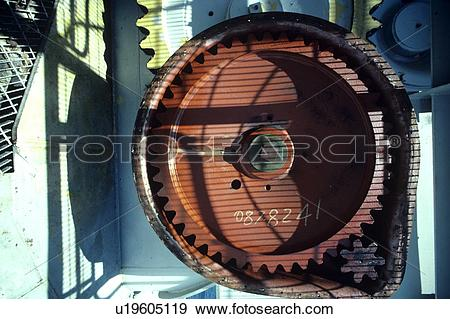 Stock Photograph of Jacking Gear on Jackup Oil Drilling Rig.