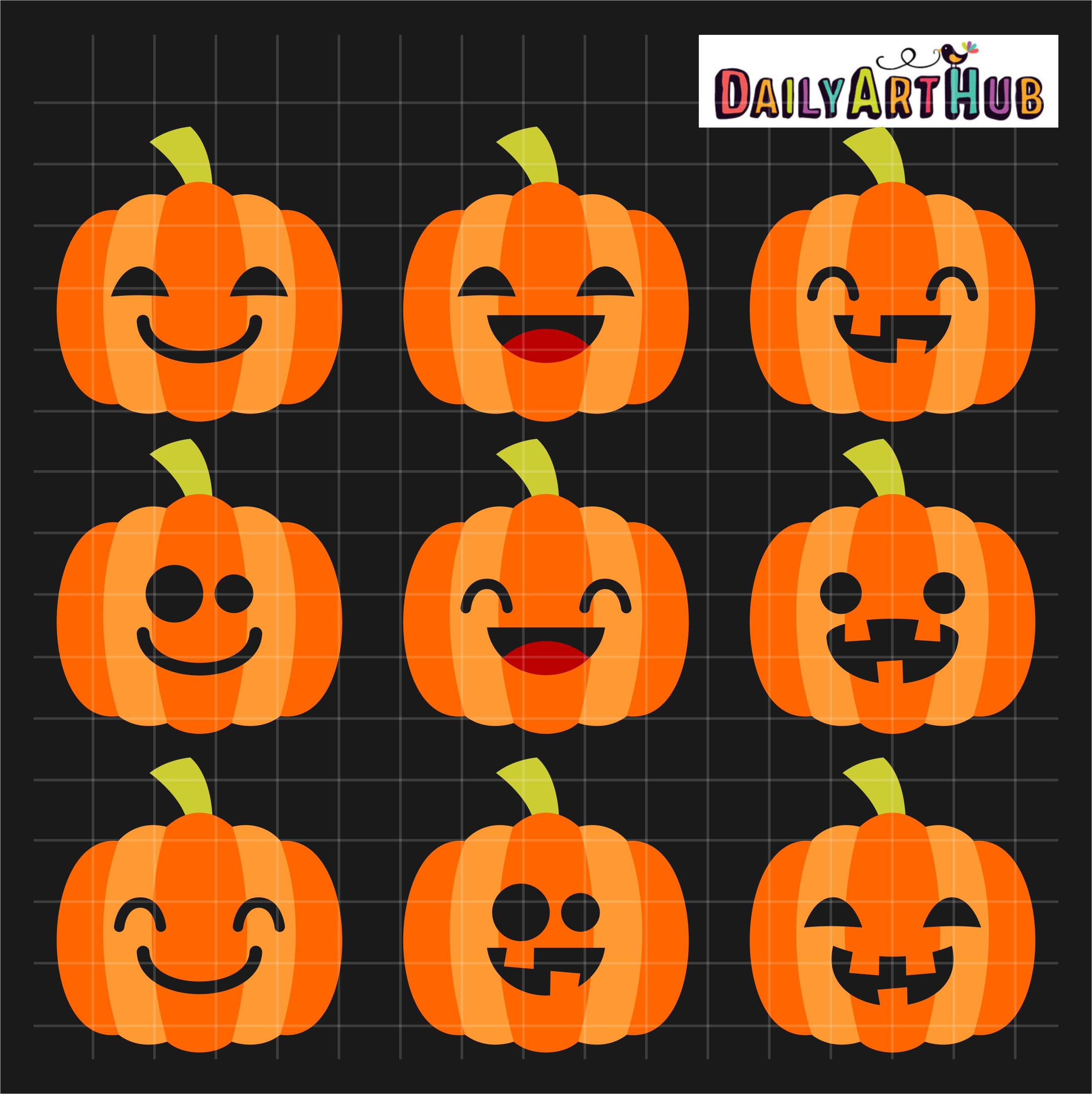 Halloween Cute Jack O Lanterns Clip Art Set.