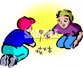 Clipart Picture Of A Couple Of Boys Playing Jacks.