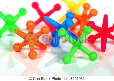 Clipart of Colorful Toy Jacks.