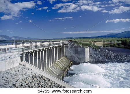 Stock Image of Dam on lake, Jackson Lake Dam, Grand Teton National.