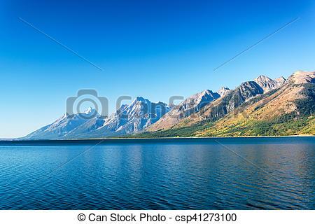 Stock Photography of Jackson Lake and Teton Range.