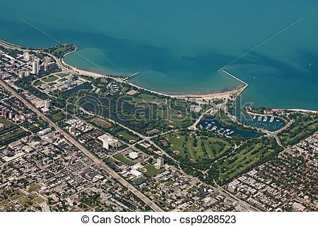 Stock Photos of Aerial view of Jackson Park in Chicago, and Lake.