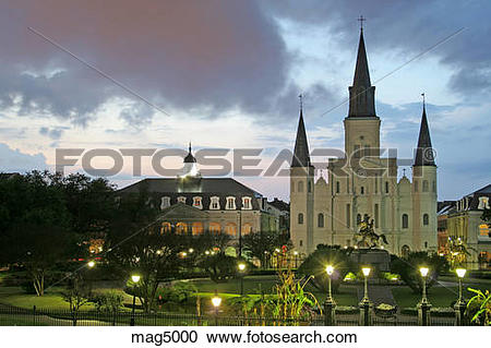 Stock Photography of Evening lighting St. Louis Cathedral Jackson.