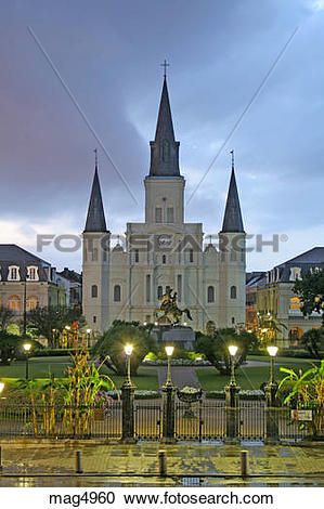 Stock Photography of Rainy evening lighting St. Louis Cathedral at.