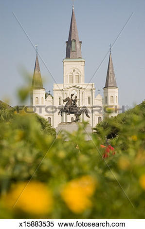 Stock Image of St Louis cathedral, Jackson Square, New Orleans.