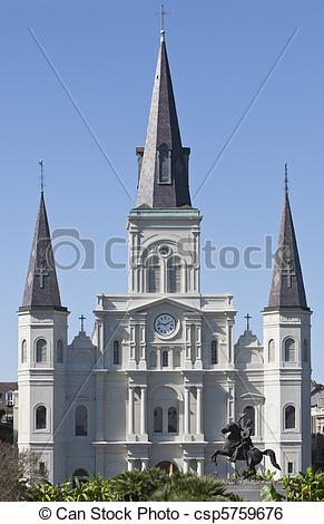 Stock Image of St Louis Cathedral New Orleans Jackson square.
