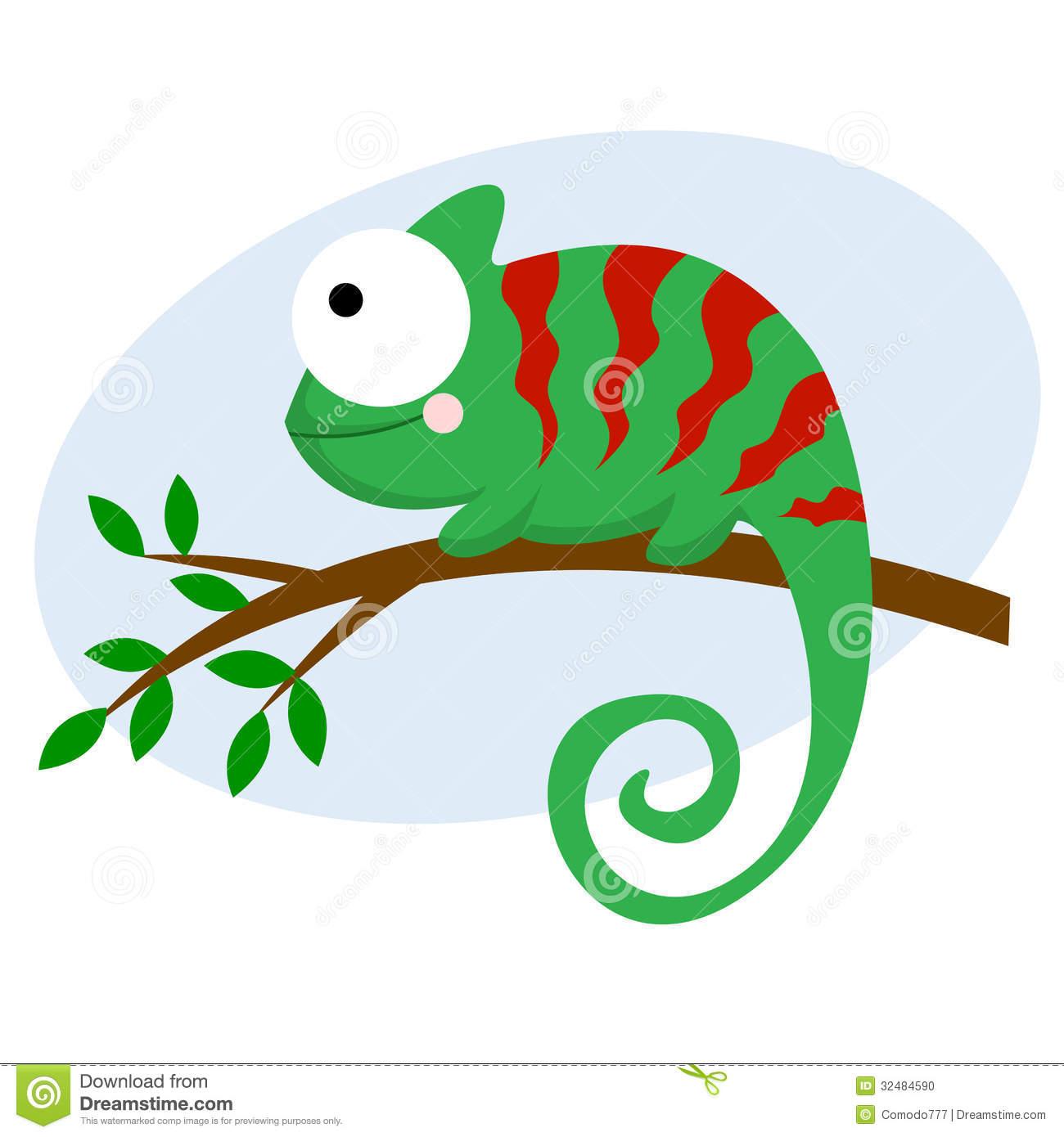 Cute Chameleon Clipart.