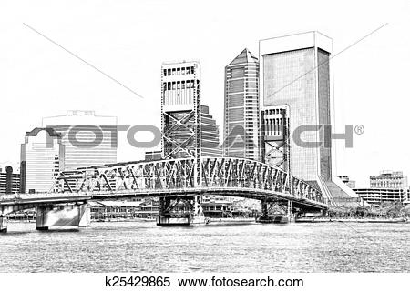 Stock Illustration of Sketch of Jacksonville Florida Skyline.