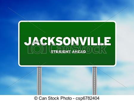 Stock Photo of Jacksonville, Florida Highway Sign.