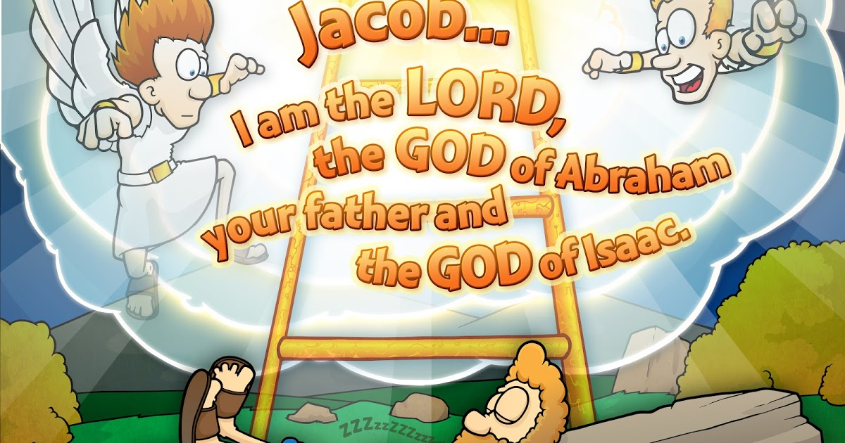 Christian Cartoon Bible Story Illustrations: Jacob's Ladder.