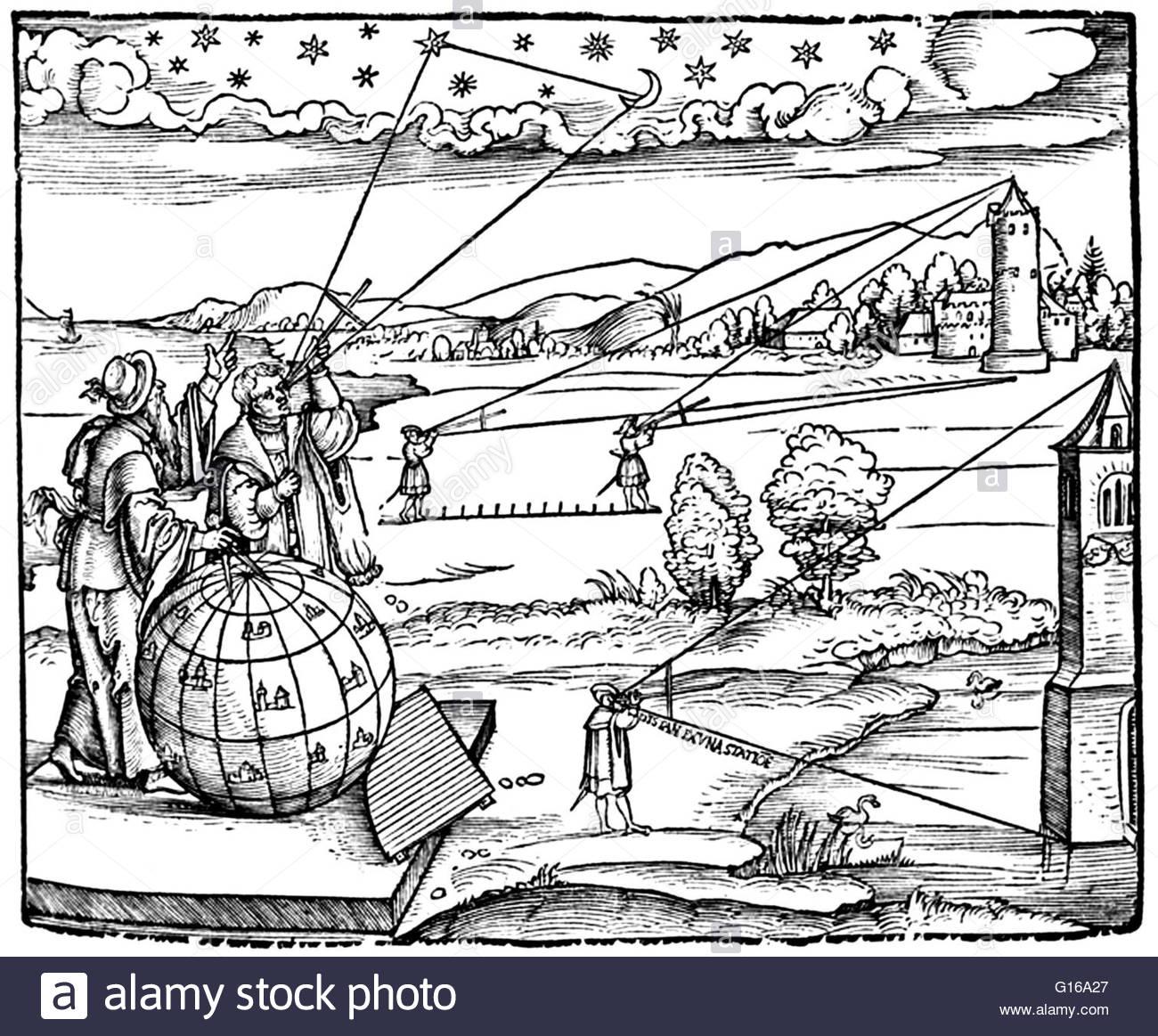 Frontispiece, Petrus Apianus, Introductio Geographica, 1532 Stock.