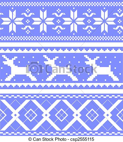 Clipart Vector of Set jacquard patterns.