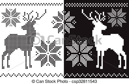 EPS Vector of jacquard snowflake and deer.