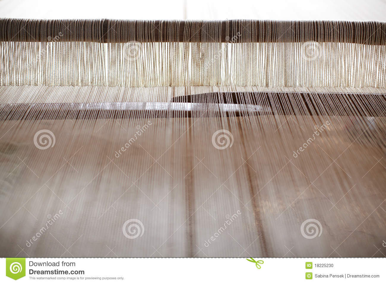 Jacquard Loom For Hand Weaving With Woolen Threads Stock Photo.