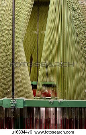 Stock Images of Close up view of Jacquard loom with pattern formed.