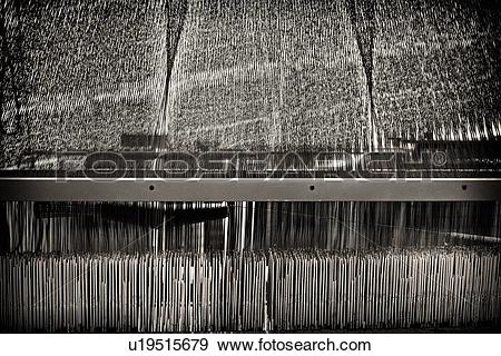 Stock Photograph of Close up view of Jacquard loom with pattern.