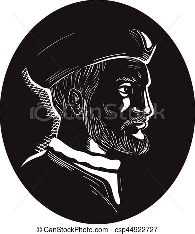 Vector Illustration of Jacques Cartier French Explorer Oval.