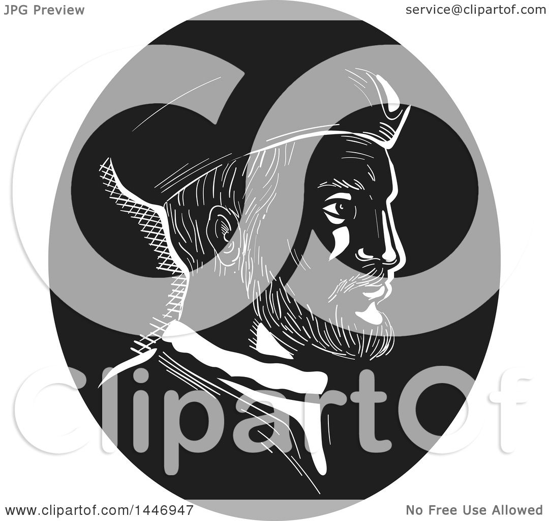 Clipart of a Retro Engraved or Woodcut Styled Bust Portrait of.
