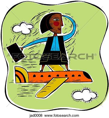 Clipart of Illustration of a woman walking through a door made of.