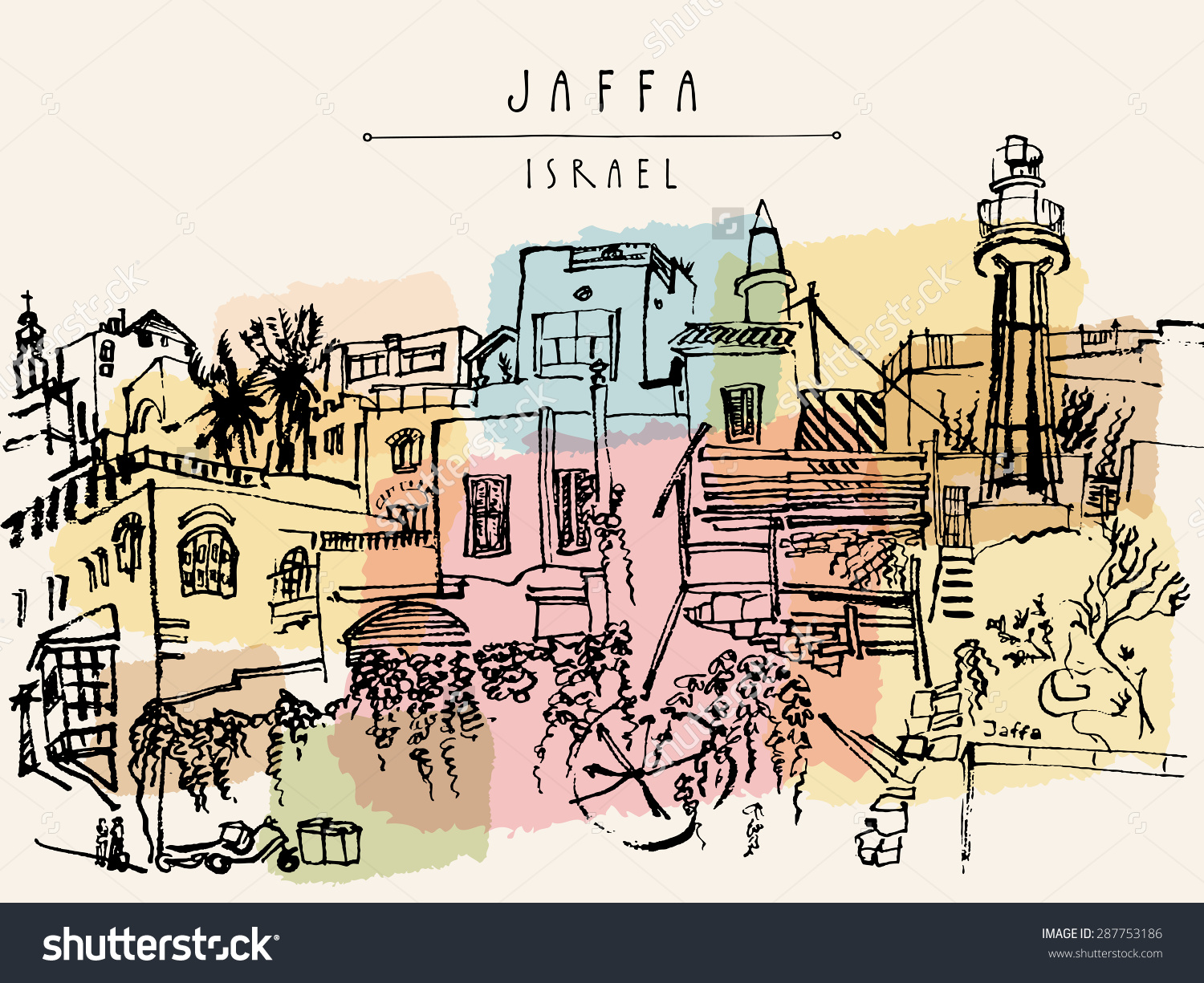 Artistic Illustration Jaffa Yafo Tel Aviv Stock Illustration.