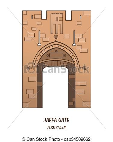 Clip Art Vector of Jaffa Gate in Jerusalem.
