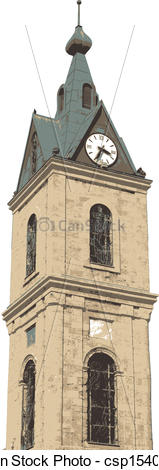 Clip Art Vector of Jaffa Clock Tower at Tel Aviv csp15402566.