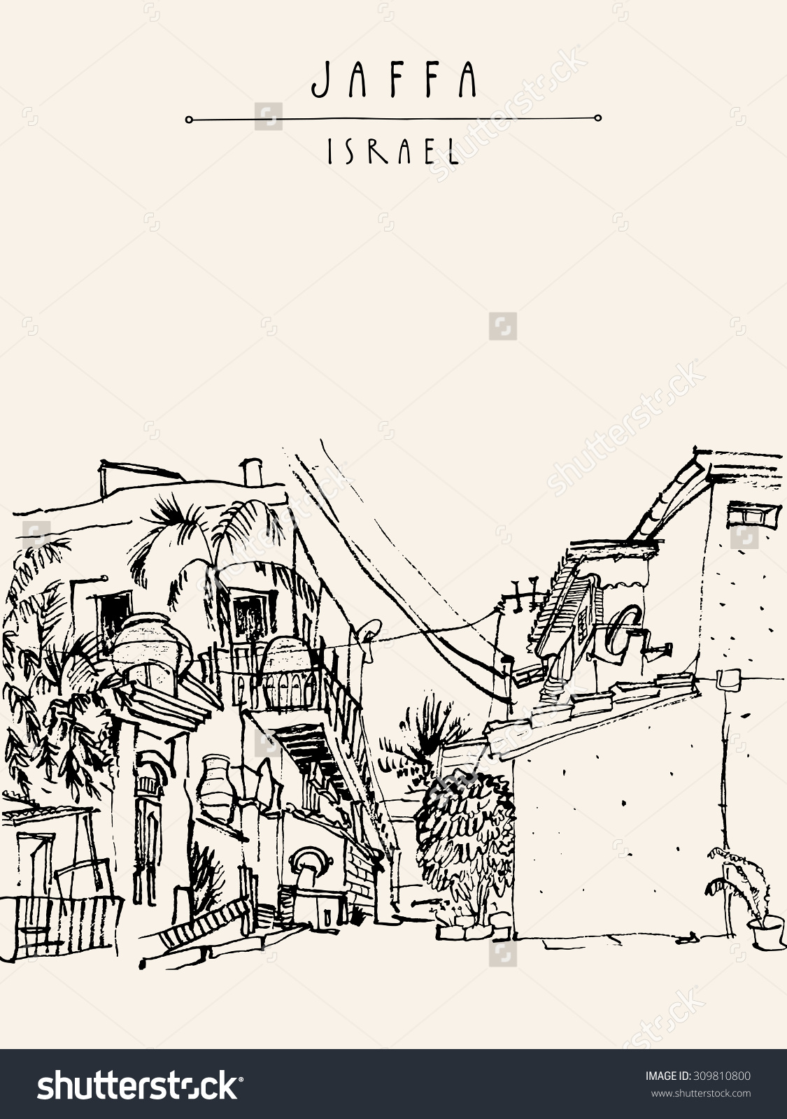 Jaffa (Yafo), Tel Aviv, Israel. Vector Illustration. Grungy Black.