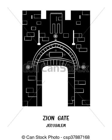 Clip Art Vector of Jaffa Gate in Jerusalem..