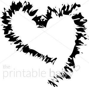 Jagged Black Heart Outline Graphic.