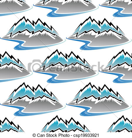 Vector Illustration of Seamless pattern of winter mountains and.