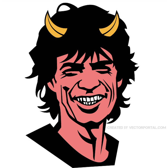 Sympathy for The Devil Mick Jagger Free Vector.