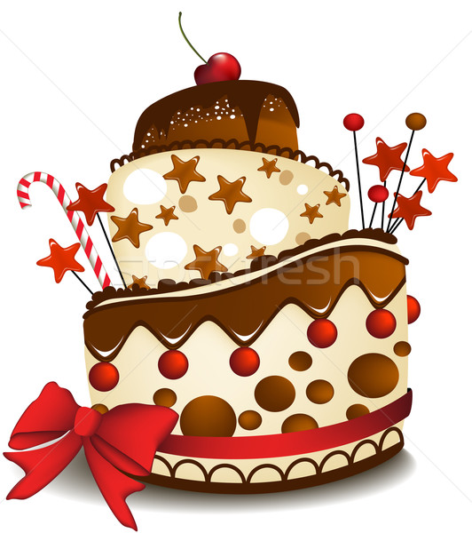 Big chocolate cake vector illustration © jagoda (#540079).