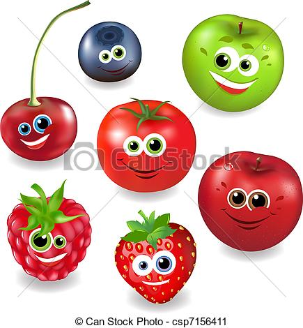 Vector Clip Art of Collection Cartoon Fruit And Berries, Isolated.