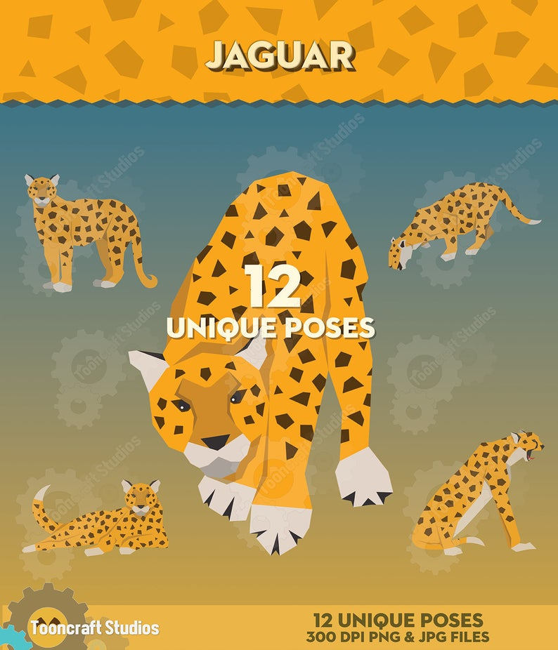 Jaguar Animal Clipart, Safari Animals ClipArt, Zoo Αnimals Clip.