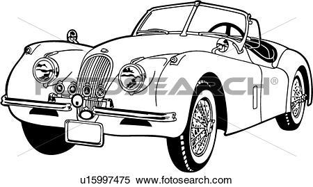 Clipart of , 120m, 1953, automobile, car, classic, jaguar, sport.