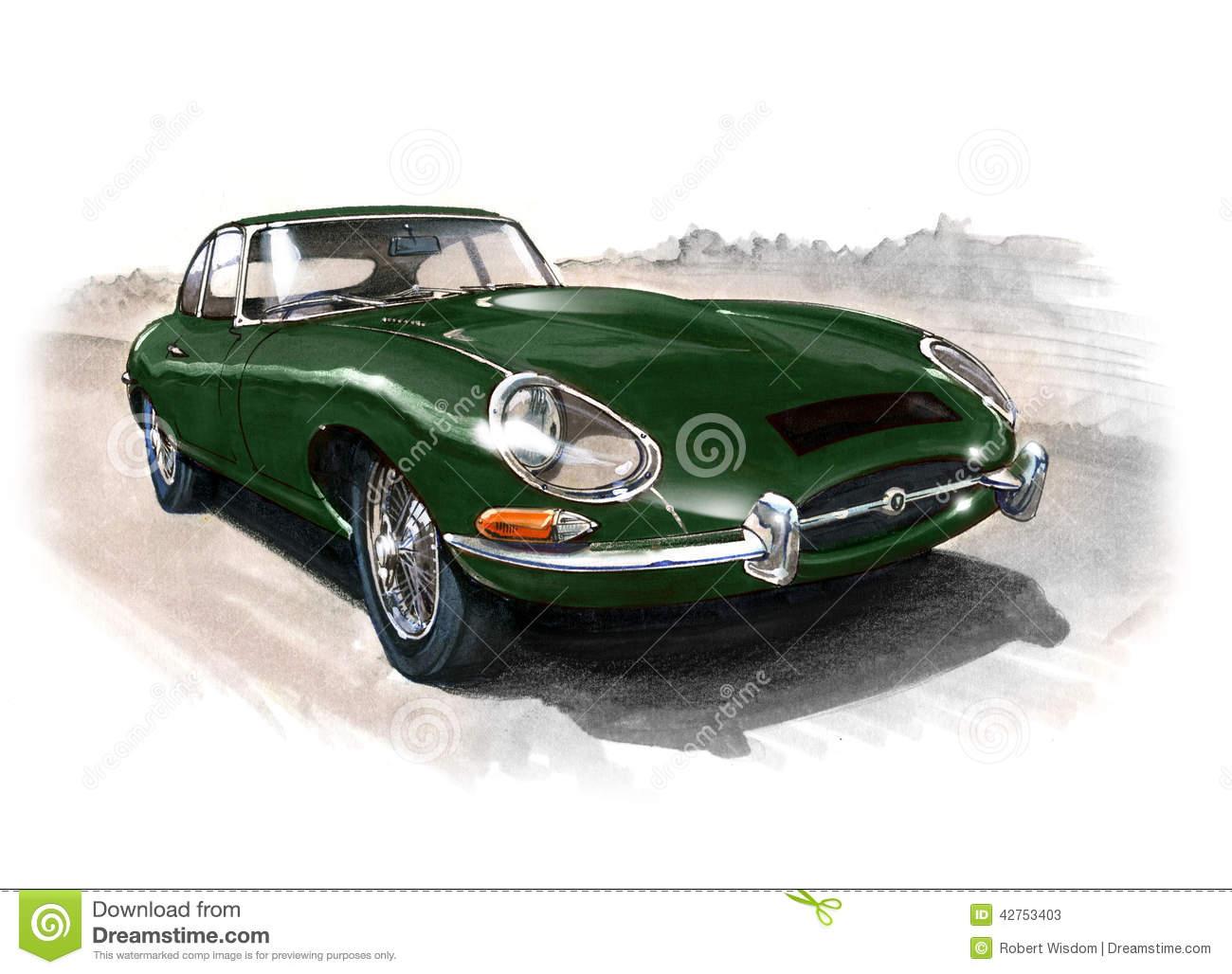 Classic Jaguar Car Stock Illustrations.