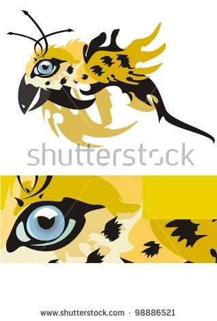 Jaguar Eye In The Form Of A Bird. Jaguar Eye In A Strip Stock.